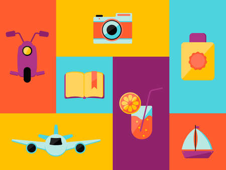 Vector Illustration. Travelling icons set, such as: moto scooter, book, cocktail, plane, ship, camera, suncream Иллюстрация