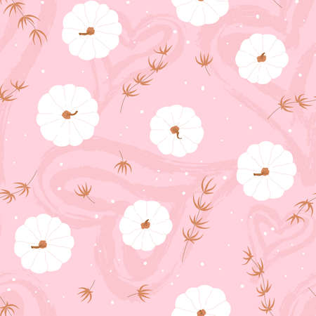 Pink background with cute pumpkin and hearts seamless pattern. Template poster for Thanksgiving sale, holiday, card. Vector illustration