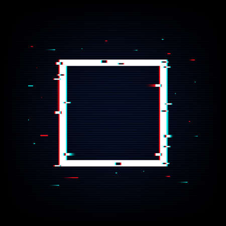 Isolated square neon glitch shape. Noise vector illustration for sale, ad, cyber monday. Pixel design for social media, web, app, card. Vector Illustration Stok Fotoğraf