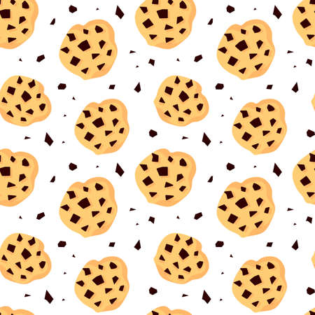Vector Illustration. Seamless pattern with cracker with chocolates. Printable background with sweet dessert. Food holiday. Paper present