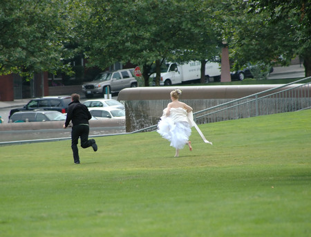 runaway: This runaway groom will not be saying I Do at the altar. Stock Photo