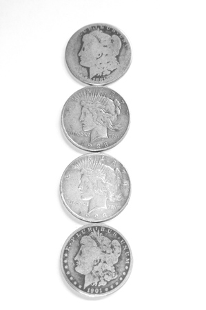 uncirculated: Vintage uncirculated silver dollars.