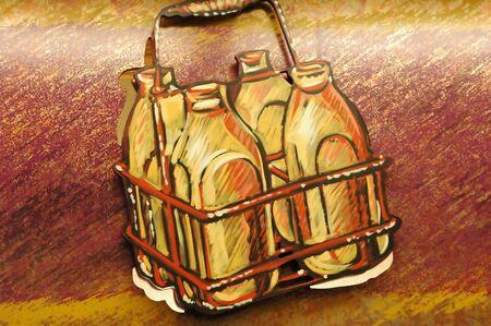 Bottles of milk illustrated. Stock fotó - 2186170