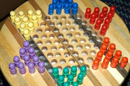 Chinese checkers board on display. Stock Photo