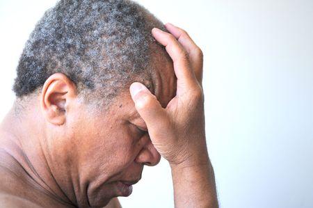 hombres gays: African American hombre siente triste y deprimido. Foto de archivo
