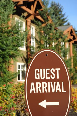 Guest arrival sign for guest to follow.