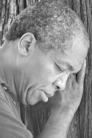 African american male depression. photo
