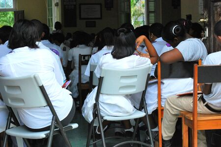 Students attending mass in St. Thomas, VI on 5/10/2011. Stock Photo - 9643616