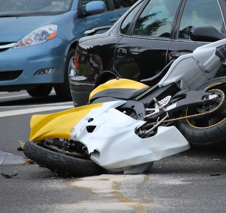 Motorbike accident at an intersection.