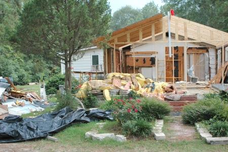 damages: Hurricane Katrina house damage in New Orleans, La. Stock Photo