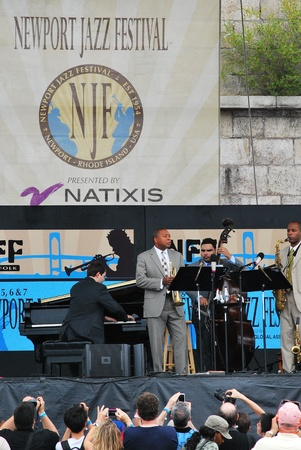 quintet: Wynton Marsalis quintet performing at the Newport Jazz Festival on Aug 6, 2011.