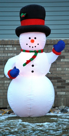 blowup: Frosty the snowman standing outside in the cold. Stock Photo