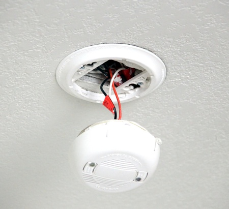 Smoke detector  on the ceiling in a room. photo