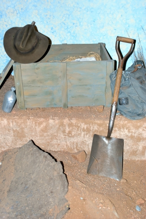 gold shovel: Tools for gold diggers in the old west. Stock Photo