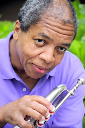 flugelhorn: African american male with his flugelhorn