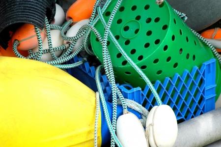 crab pots: Crab pots on a fishing boat.