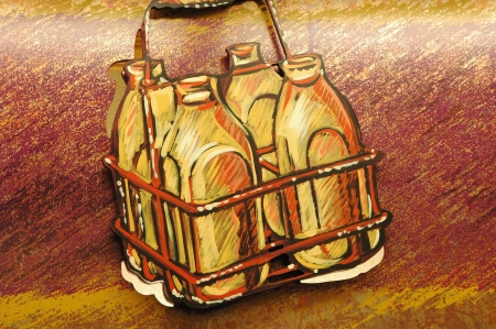 illustrated: Milk bottles illustrated on a wall.