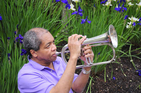 flugelhorn: African american jazz flugelhorn player