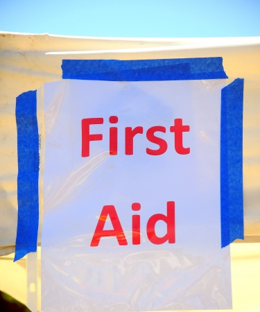 First aid station banner displayed outdoors