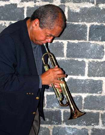 African american jazz musician with his trumpet