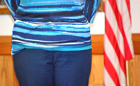 Female attending ceremony to become a usa citizen
