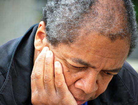 African american male expressions outside. Stock Photo