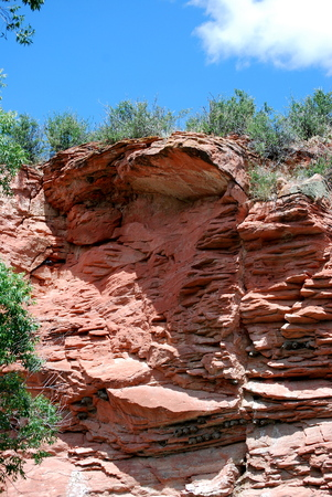 rock formation: Red rock formation in Wyoming.