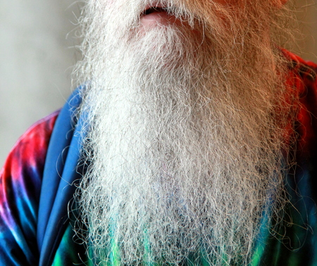 Old man posing with a long white beard.