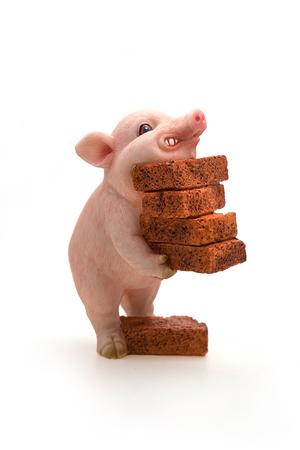 miniature piggy Moving bricks