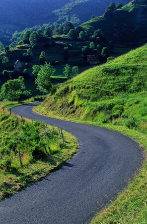 cantal: winding road in the Cantal, France Stock Photo