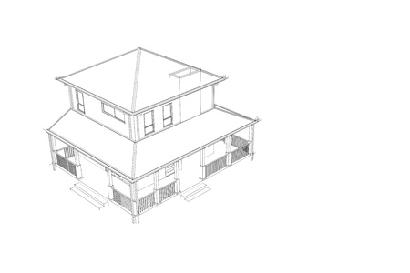 Home Design arcitecture blueprint: 3D wireframe External View