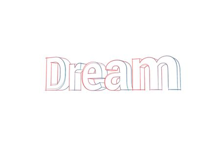 Dream Words with colored lines and orange on white