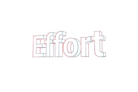 Effort Words with colored lines tilde and orange on white Banco de Imagens