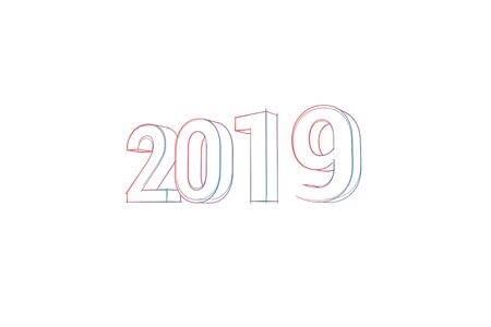 2019 with colored lines and orange on white