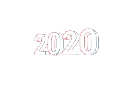 2020 with colored lines tilde and orange on white