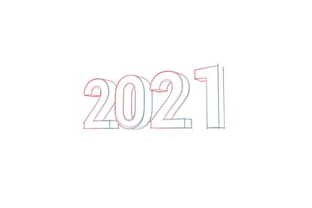 2021 with colored lines tilde and orange on white Banco de Imagens