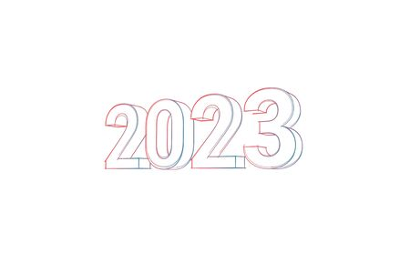 2023 with colored lines and orange on white