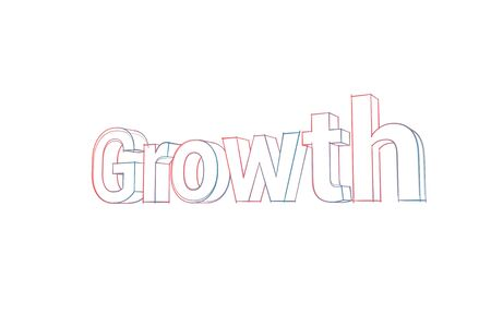 Growth Words with colored lines and orange on white Banco de Imagens