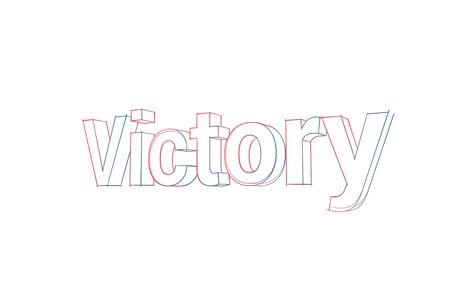 Victory Words with colored lines tilde and orange on white.