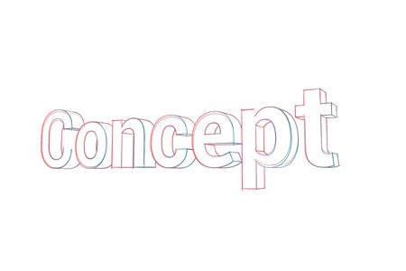 Concept Words with colored lines tilde and orange on white