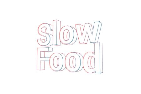 Slow Food Words with colored lines tilde and orange on white Banco de Imagens