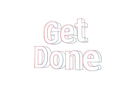 Get Done Words with colored lines tilde and orange on white