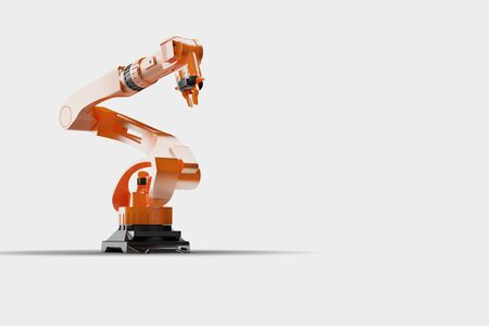 3d rendering - illustration of Industrial welding robots in production line factory - Robotic manufacturing Arm machinery large view on white background Stock Photo