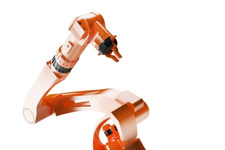 3d render - illustration of Industrial welding robots in production line factory manufacturers - Robotic manufacturing Arm machinery close view on white background