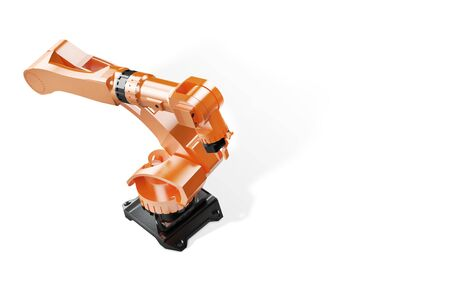 3d rendering - illustration of Industrial welding robots in production line factory - Robotic manufacturing Arm machinery top view on white background