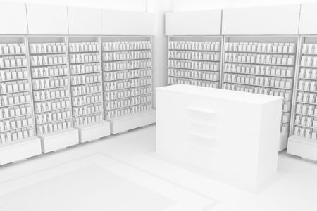 3D Illustration Rendering. Clean Pharmacy views on white backgorund for presentation and mockup blueprints. Architectural visualization of Modern interior design store. Side view