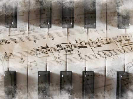 pentagramma musicale: Tastiera di pianoforte con note musicali Archivio Fotografico