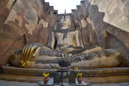 chum: Sitting Buddha in Wat Si Chum, Sukhothai, Thailand Stock Photo