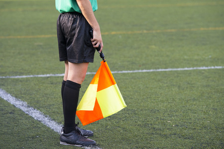 linesman: Soccer football referee linesman with a flag