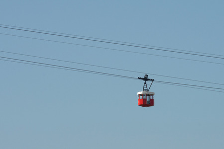 designates: Tower cableway in Port Vell in Barcelona, Catalonia, Spain